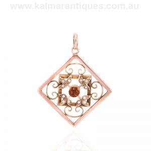 Antique Edwardian era citrine and pearl pendant made in rose gold