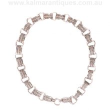 Beautifully detailed antique sterling silver collar from the Victorian era