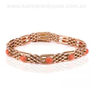 Antique rose gold and coral gate bracelet