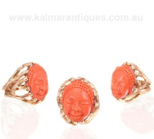 Vintage cameo ring hand carved from natural coral