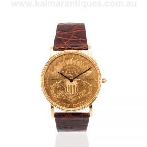 18ct Corum twenty Dollar double eagle head coin watch