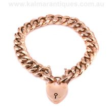 Rose gold hammer finish night and day curb link bracelet made in 1908