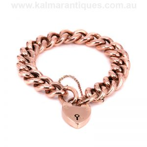 9 carat rose gold antique curb link padlock bracelet