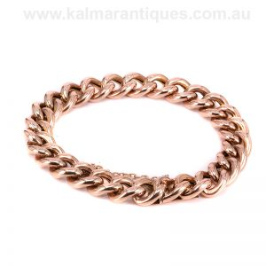 Antique rose gold curb link bracelet with hidden clasp