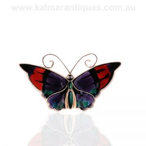 Beautiful vintage enamel butterfly brooch by David Andersen