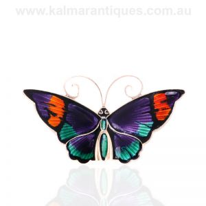 Vintage sterling silver and enamel butterfly brooch by David Andersen