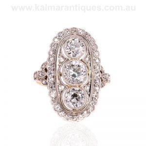 Art Deco diamond ring set with 2.47 carats of diamonds