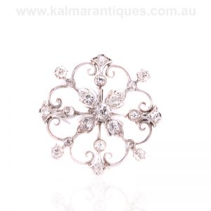 Art Deco diamond brooch hand made in platinum in the 1920's