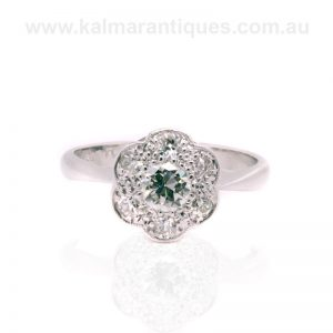 Vintage diamond cluster engagement ring made in the 1930's