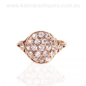 15 carat gold antique European cut diamond cluster ring