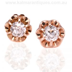 18 carat rose gold antique earrings set with European cut diamonds