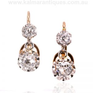 Antique double drop earrings set with mine cut diamonds