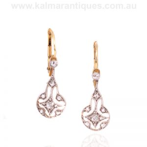 Art Deco diamond drop earrings made in the 1920's