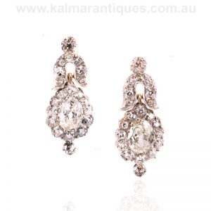 Antique mid-Victorian era diamond earrings made in the 1860's