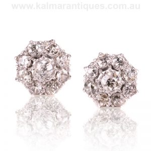 Magnificent diamond cluster earrings set with European cut diamonds