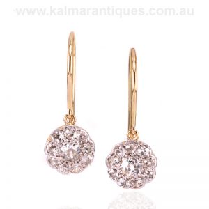 Antique diamond cluster drop earrings