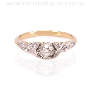 Edwardian designed diamond engagement ring set with antique diamonds
