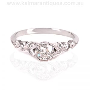 Hand made antique reproduction diamond engagement ring