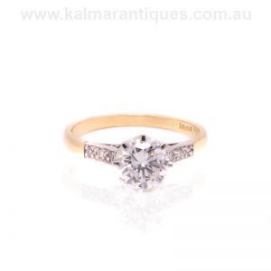 18 carat yellow gold and platinum diamond engagement ring