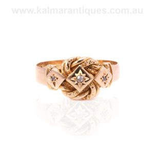 18 carat antique knot ring made in 1918 set with diamonds
