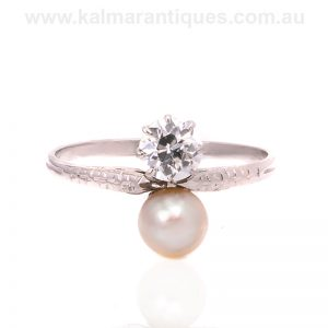 Art Deco platinum diamond and pearl toi et moi ring