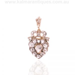 Victorian era antique rose cut diamond heart shape pendant