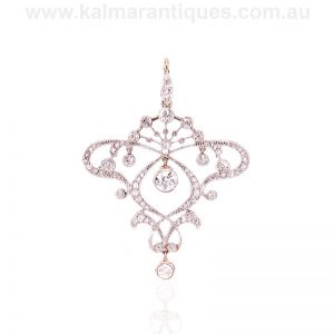Art Nouveau diamond pendant hand made in gold and platinum