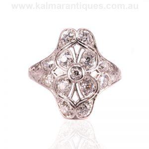 Beautiful Art Deco diamond ring hand made in platinum