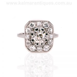 Platinum Art Deco fancy diamond cluster ring made in the 1920's.