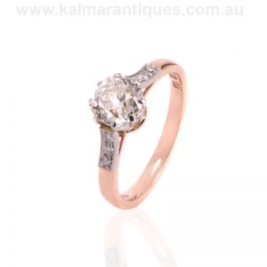 Antique style diamond engagement ring with an antique mine cut diamond