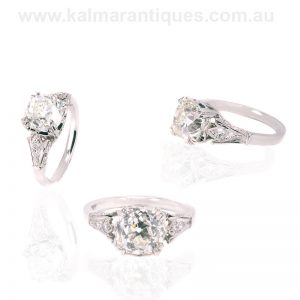 Platinum engagement ring set with a 3.21 carat mine cut diamond