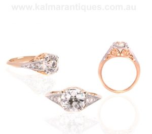 Antique style diamond engagement ring set with a European cut diamond