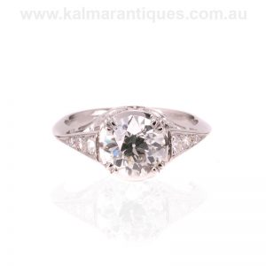 Diamond engagement ring set with a 1.75 carat European cut diamond