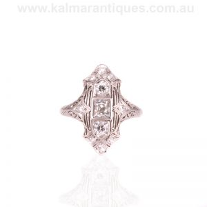 Art Deco platinum diamond ring made by S. Kind & Sons