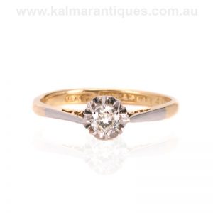 Art Deco diamond engagement ring hand made in the 1920's