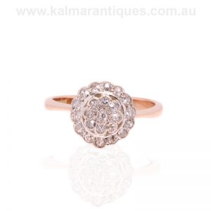 Antique double cluster ring handmade in 15 carat rose gold