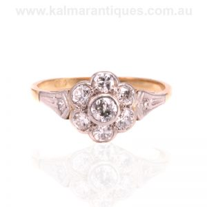 Art Deco diamond cluster ring that was hand made in the 1930's