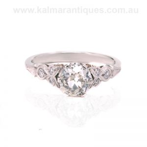 Platinum diamond engagement ring set with antique diamonds