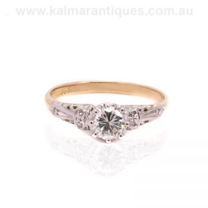 Diamond engagement ring hand made in 18 carat gold and platinum