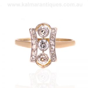 18 carat gold and platinum Art Deco diamond ring