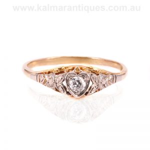 Art Deco diamond engagement ring designed as a heart