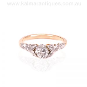 Diamond engagement ring in platinum and our own 16 carat gold