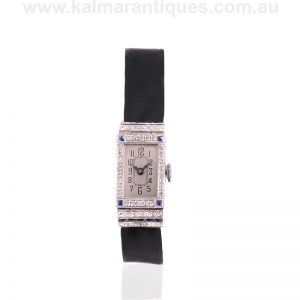 Platinum sapphire and diamond watch from the Art Deco era