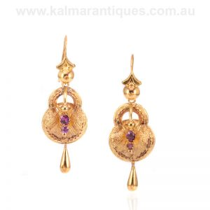 15 carat gold antique garnet earrings made in the 1880's