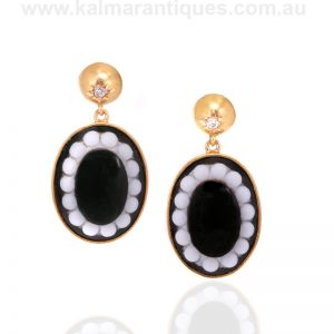 Antique onyx and diamond earrings made in the 1870's