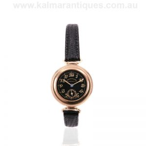 Rare 1921 hermetic 14 carat gold Eberhard & Co Calotte Patrouille watch