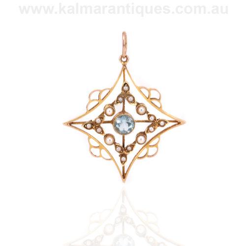 Antique Edwardian aquamarine and pearl pendant