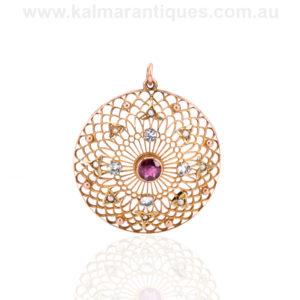 Antique Edwardian era garnet, aquamarine and pearl pendant
