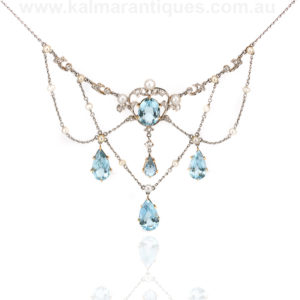 Edwardian aquamarine and diamond festoon necklace