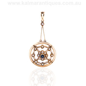 15ct gold Edwardian era sapphire and pearl pendant